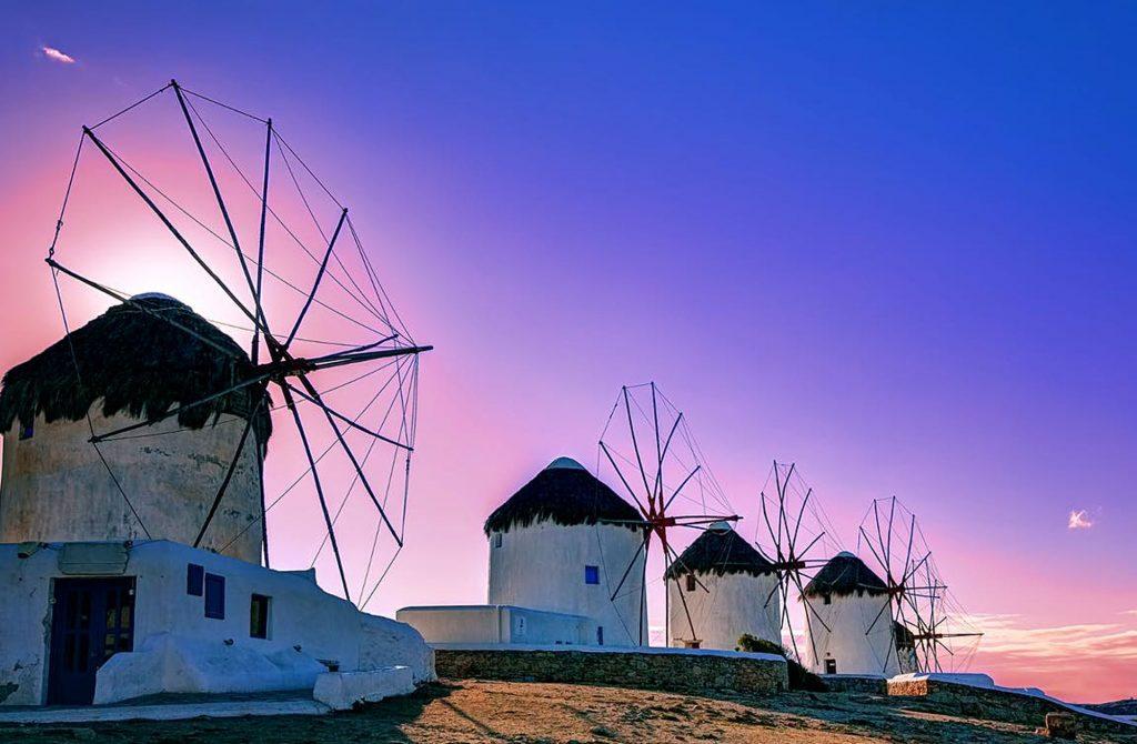 Mykonos Sunset windmills